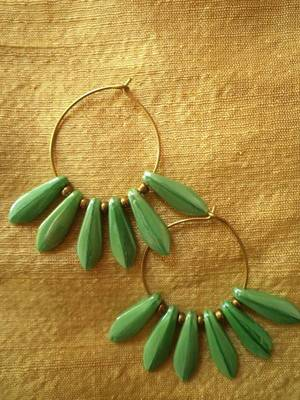 Green Glass Earrings  -30295-Fashion jewellery-Aliff Lailaa Crafts