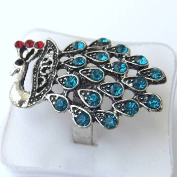 Blue peacock ring