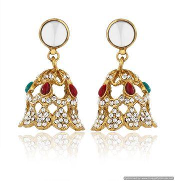 Kshitij Jewels Maroon and Green Stone Golden Bell Earrings