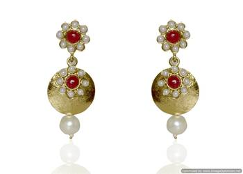 Kshitij Jewels Red Flower Golden Earrings