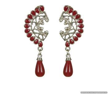 Kshitij Jewels Red Drops Silver Earring