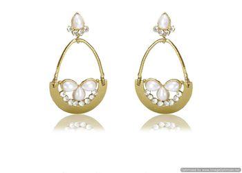 Kshitij Jewels White Stone Drops Golden Basket Earrings