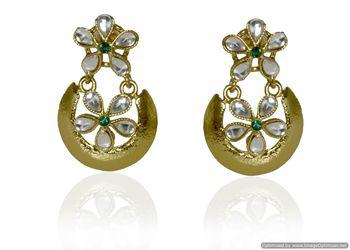 Kshitij Jewels Green Center Stone Flower Encircled Earrings