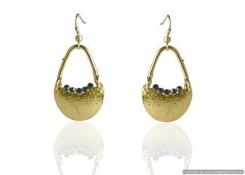 Kshitij Jewels Green Stone Studded Golden Basket Earrings