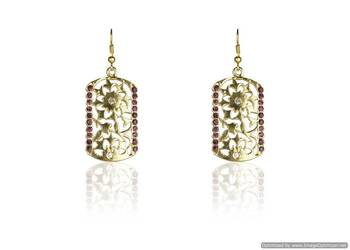 Kshitij Rectangle Gold Plated Earrings