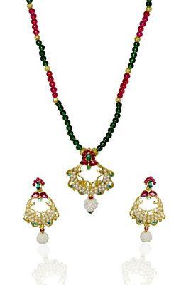 Kshitij Elite Cream & Green Bead Necklace Set,