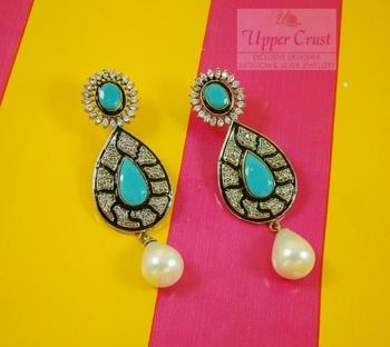 Turquoise Victorian Zircone Pearl Earrings