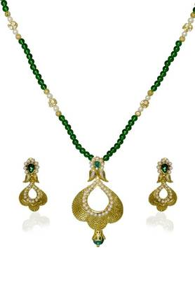 Kshitij Jewels Designer Pearl Studded Golden Necklace Set