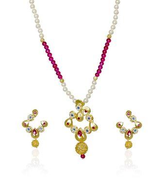 Kshitij Dainty White & Pink Beads Necklace Set