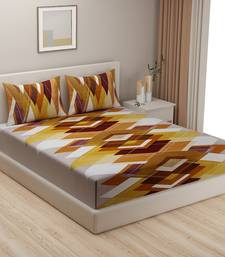Geometric print    Cotton Extra Large Double Bedsheet with   Pillow Covers Orange