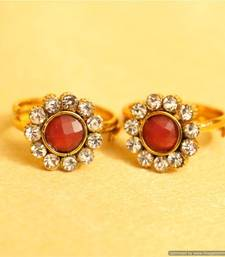 Buy Adjustabe Red polki toe rings toe-ring online
