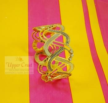 Zircone Gold Plated Dancing Bangles Kada