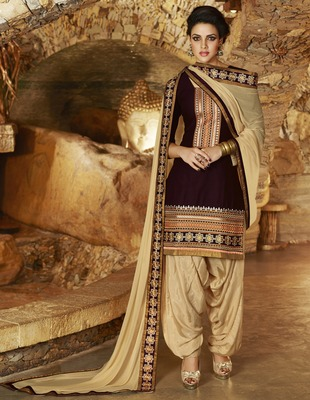 Brown Cotton unstitched salwar with dupatta