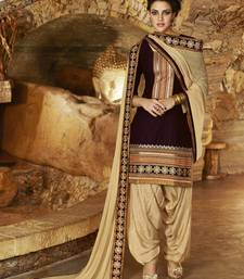 Buy Brown Cotton unstitched salwar with dupatta party-wear-salwar-kameez online