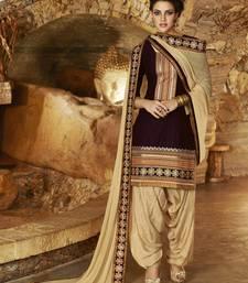 Buy Brown Cotton unstitched salwar with dupatta women-ethnic-wear online