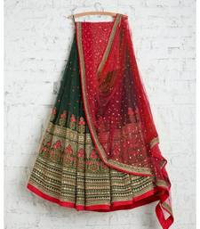 green georgette thread embroidery semi stitched half sleeve choli choli & lehenga with dupatta