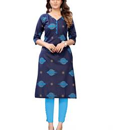 Dark-blue printed cotton cotton-kurtis