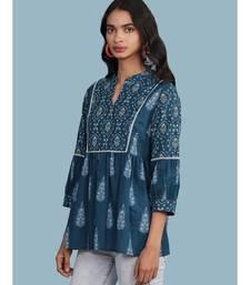 Blue cotton quarter sleeve top
