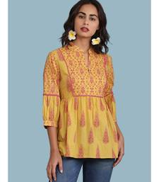 Yellow cotton quarter sleeve top