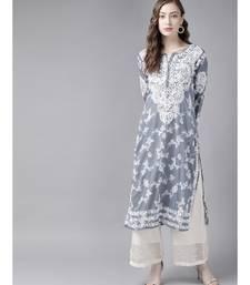Embroidered Grey Cotton Lucknowi Chikan Kurta