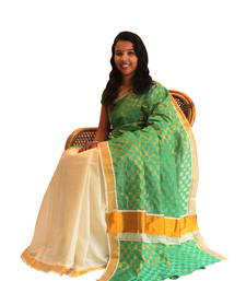 Buy off-white and green  cotton saree with blouse kerala-saree online