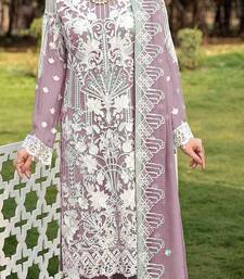 Purple faux georgette Embroidered Shtraight suit style plazzo suit