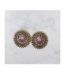 Red studded jewellery antique gold Gold   pair of Earring