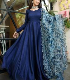 Navy Blue Rayon Designer Gown with Organza Dupatta