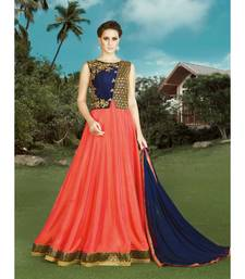 blue silk semi stitched embroidered party wear gowns