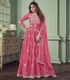 Hot-pink embroidered georgette salwar