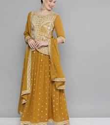 Mustard Embroidered & Sequins Work Ready Made Lehenga With Blouse & Dupatta