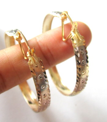 3 TONE GOLD PLATED HOOP EARRINGS