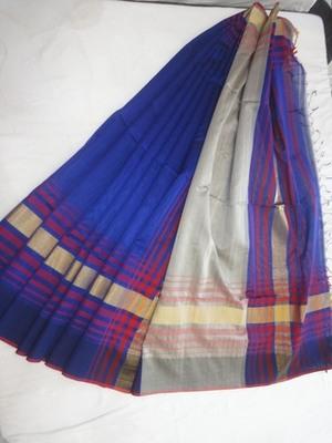 blue embroidered maheshwari saree with blouse