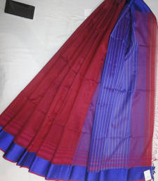 Buy brown embroidered maheshwari saree with blouse maheshwari-saree online