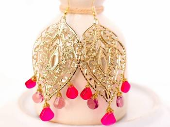 Fuschia Pink Chandelier Earrings