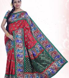 Buy Red embroidered dupion_silk saree with blouse dupion-saree online