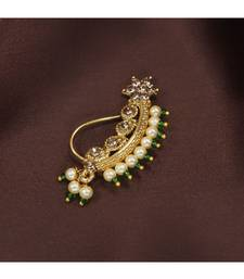 18k Gold Plated Traditional Ethnic Bridal Nose Ring Nath without piercing Encased with Pearl Stone for   Girls (NL45G)