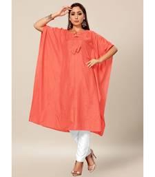Peach Colour Dola Silk Plain free Style Round Neck Stitch Kaaftan
