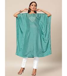 Teal Grey Colour Dola Silk Plain free Style Round Neck Stitch Kaaftan