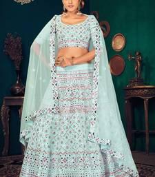 Sky blue Multi-thread with gota patti Embroidered Georgette Semi-stitched Lehenga