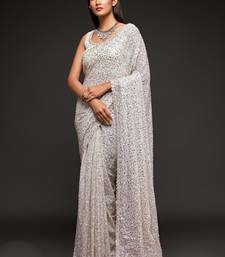Pearl white Thread and multiple sequins embroidered Georgette Designer Saree