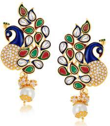 Buy Charming Peacock Gold Plated Australian Diamond Earrings jewellery-below-500 online