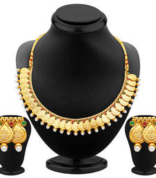 Buy Magnificent Gold Plated Temple Jewellery Necklace Set necklace-set online