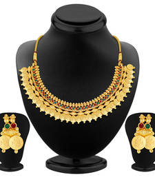 Buy Glimmery Gold Plated Temple Jewellery Necklace Set necklace-set online