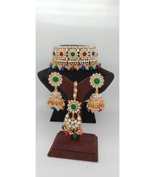 Gold Plated choker set with earrings and Maangtikka in Multicolor color