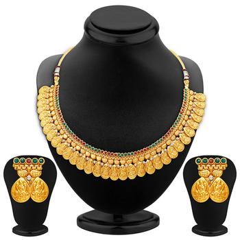 Sublime Gold Plated Temple Jewellery Necklace Set