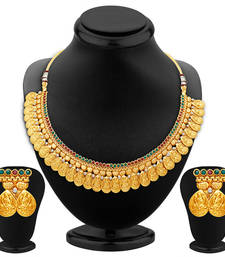 Buy Sublime Gold Plated Temple Jewellery Necklace Set necklace-set online
