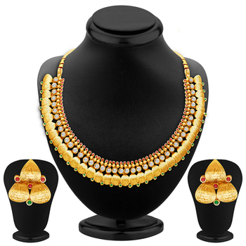 Fascinating Gold Plated Temple Jewellery Necklace Set