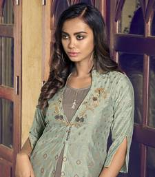 grey Art Silk semi stitched embroidered top & bottom with dupatta
