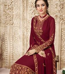 red Georgette unstitched embroidered top & bottom with dupatta